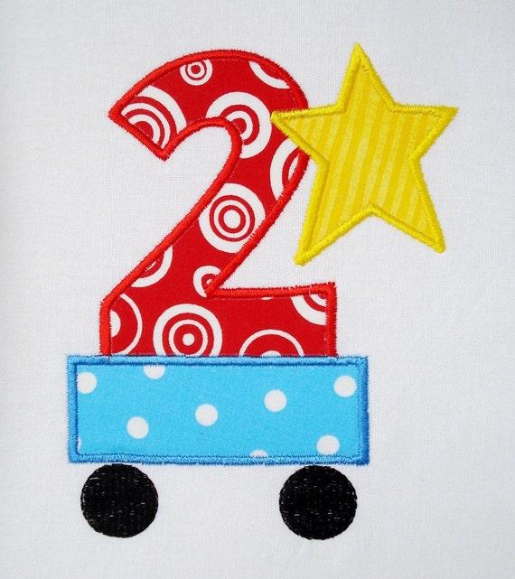 Second Birthday Train Car Machine Embroidery Design Applique 4x4 and 5x7