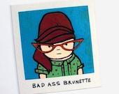 Bouffant Brunette with Red Cat Eye Glasses Magnet