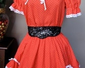 Vintage Partners Please Red Rockabilly Square Dancing Outfit 1980's