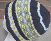 Knit Hat - Womens Knitted Hat Beanie - Blue Cotton Cap Unisex Accessory