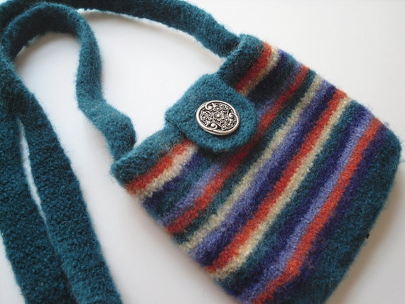 Striped Purse Felted Handbag, Handknit Small Shoulder Bag