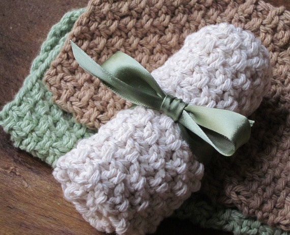 Wash Cloth Knitted Washcloth Handknit Face Cloth for Bathroom or Kitchen Dish Cloth