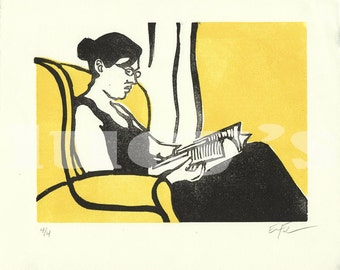 Domestic Scene Linocut 4 by Erin Landry Fowler (Reading), Limited Edition - yellow and black - printmaking