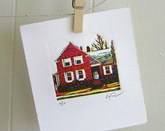 Red House, Limited Edition Linocut by Erin Landry Fowler - printmaking - lino - red, yellow, green - lino - linocut print
