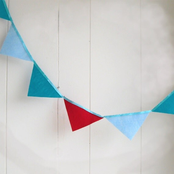 Carnival Style Bunting - Red, Turquoise and Light Blue - banner - felt banner - decoration - summer wedding - Ready to Ship
