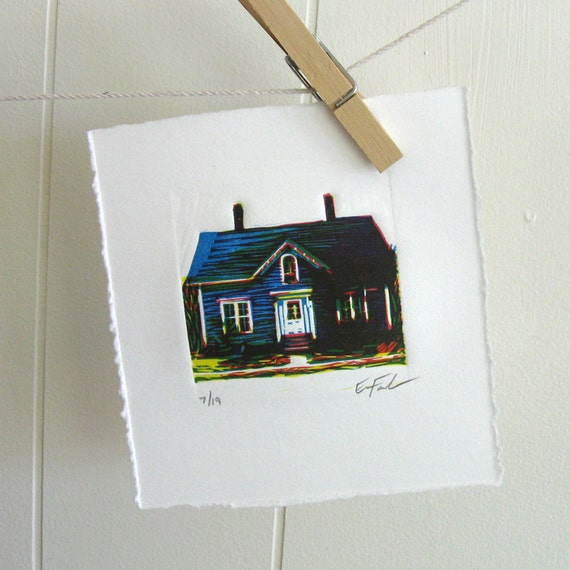 Blue House, Limited Edition Linocut by Erin Landry Fowler - lino - old house - navy blue - america