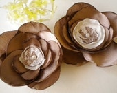 2 Chocolate Cream Lace and Satin Blossoms for Weddings Bridal Hair Pins Sash Brooch Clothing Dress Clutch