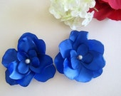 Kate Blue Satin Flower Shoe clips Handmade