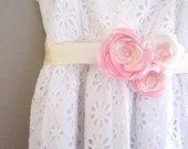 Romantic Sash in Pink & Ivory Roses Satin Flowers handmade