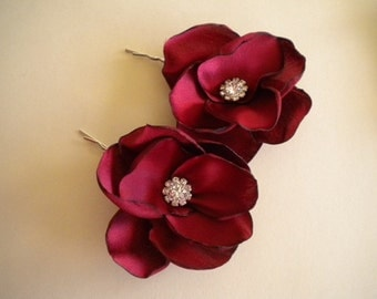 Bridal hair pins, satin flowers with rhinestone choose colors - Cranberry, white, ivory - Style A01