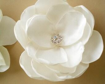 Romantic Ivory Bridal Satin Flower Hair Clip with rhinestone center - Handmade Flower ivory or white