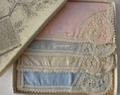 Four Vintage Linen and Lace Hankies -new in box-made in Belgium