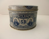 RESERVED for Connie ---- vintage cylinder TIN with lid - cough drops, Smith Bros, blue