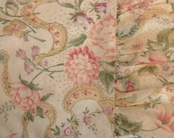 vintage Martha Stewart full flat sheet - flowers, pink, cream, green