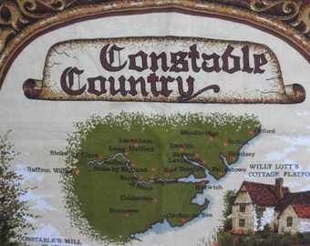 Vintage Cotton DISH TOWEL -England-Map-Buildings-Clive Mayor