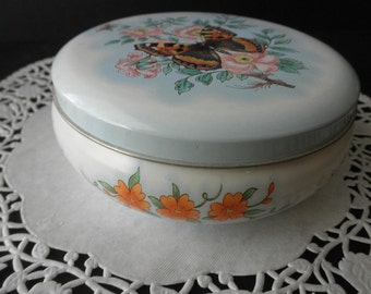 Daher Vintage Cylinder Floral DECORATIVE TIN Made in England -butterfly
