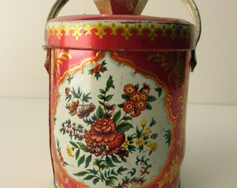 Vintage DECORATIVE TIN with handle- Made in ENGLAND