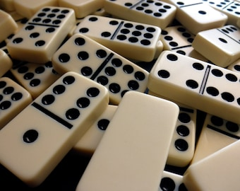 2 inch ivory colored plastic dominoes, 7mm thick - cream, 9 pieces, game, pieces