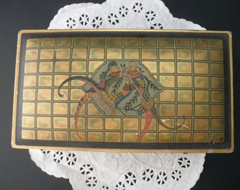 antique DECORATIVE TIN with hinged lid, birds, Camco, candy