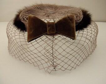 vintage 1950s 1960s mink hat -velvet,  Mad Men