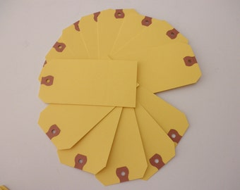 14 vintage yellow shipping tags