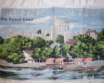 vintage linen dish towel-Windsor Castle, Made in Ireland, unused