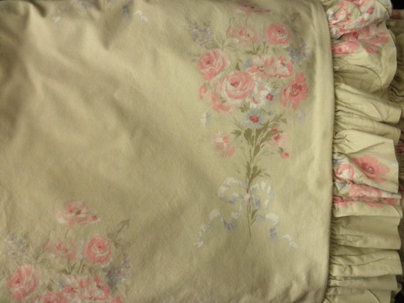 Shabby Chic Floral Cotton DUVET with ruffle for a TWIN or FULL Bed