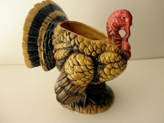 Vintage large ceramic turkey vase planter by junquedujour