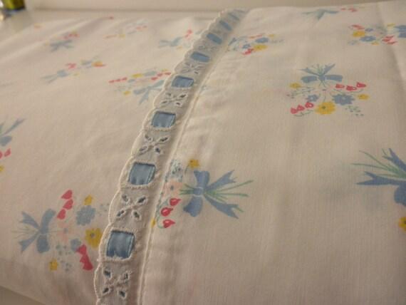vintage cotton floral king  FLAT SHEET- J.P. Stevens