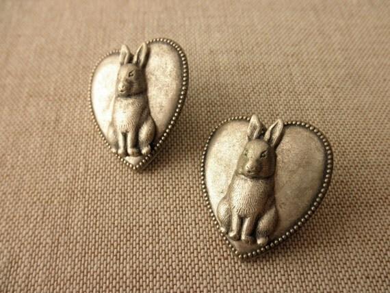 vintage rabbit heart earrings -1980s, bunnies, Easter, spring