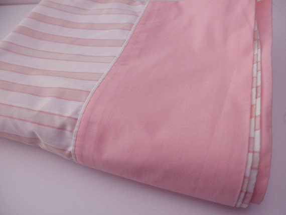 vintage twin FLAT SHEET - striped, pink