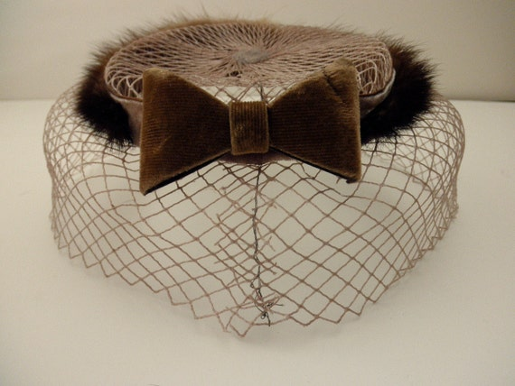 vintage 1950s 1960s mink hat -velvet,  Mad Men