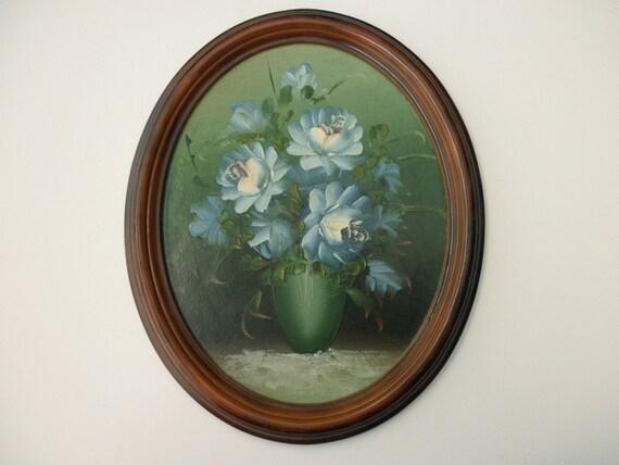 Vintage Oil Painting - flowers, vase, aqua