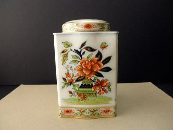 vintage Daher DECORATIVE TIN - Asian, floral, tall, made in England