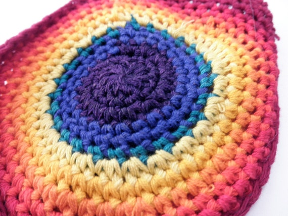 small vintage crocheted drawstring purse- rainbow, cotton, colorful