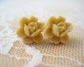 Beige Flower Stud Earrings - SALE