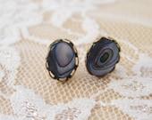 Blue Purple Abalone Post Earrings