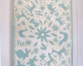 Blue Otomi 11x14 Print Mounted on Canvas