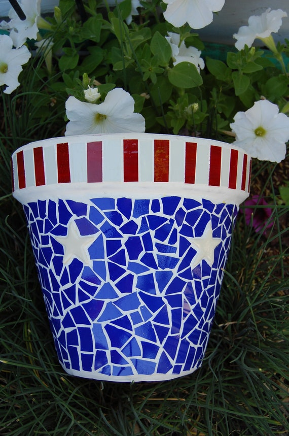 Americana Red, White, Blue Stained Glass Mosaic Flower Planter