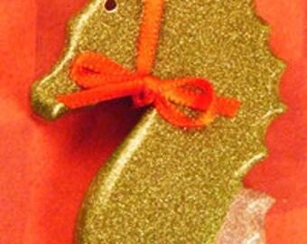 "Sparkle Seahorse ""Reindeer"" Christmas Ornament"