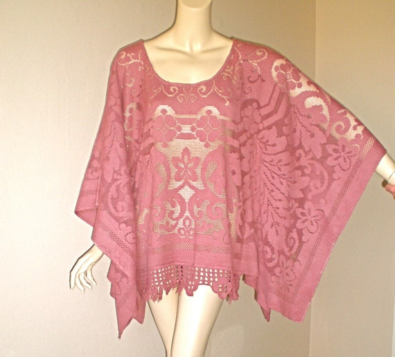 Moroccan LACE Caftan Dress Crochet Fringe PONCHO Draped Cape Sleeve OS