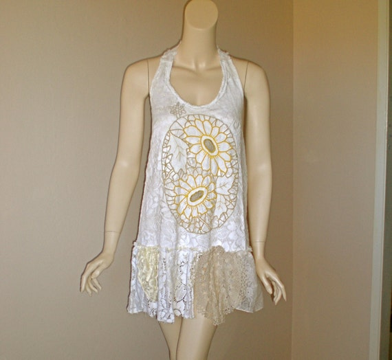 Sunflowers Vintage LACE Dress Tattered Crochet HiPpiE Halter Sundress ooak M