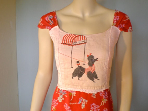 RESERVED Jasmine SALE Rhinestone Poodle Vintage Red LaCE Sun DRESS m