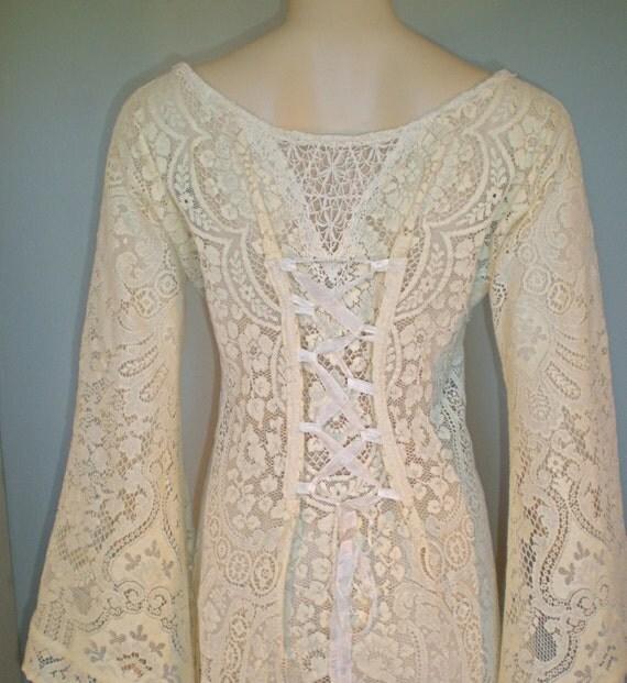 Corset Back Vintage Sheer Crochet LACE DRESS Renaissance WEDDING ooak L