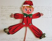 vintage ELF ornament - articluated arms and legs - pull the cord and he jumps for JOY