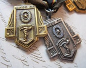3 antique Sons of the American Legion medals - swimming, breast stroke - circa 1950s - found objects, Kings Co, ribbons