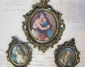 3 vintage cast metal frames - small, baroque, antique look, oval openings - images printed on fabric