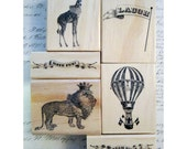 6 rubber stamps - CIRCUS theme - banners, giraffe, lion and more