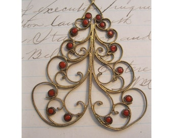 SALE - vintage handmade Christmas Tree pendant - unique, gold tone wire, stylized, enamel ornaments