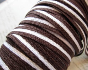 vintage trim - brown and white striped COTTON twill tape - 5 yards - 1/2 inch wide